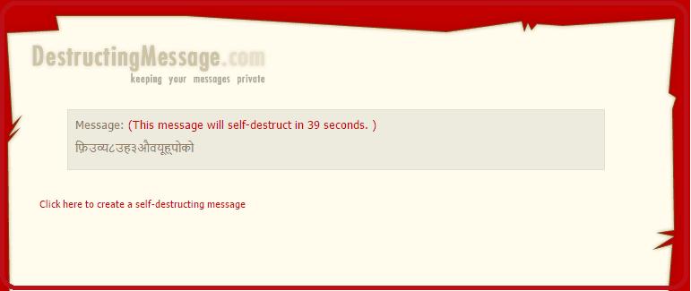 Self Destructive Secret Message