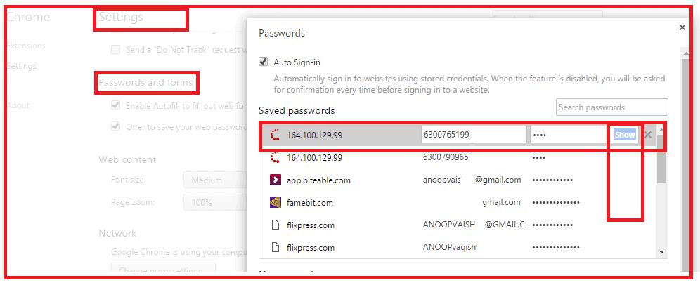 saved password