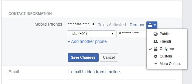 Facebook Number Hide kaise kare f