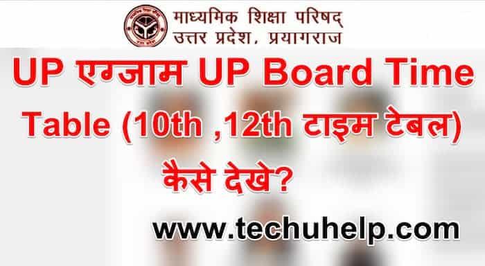 UP एग्जाम UP Board Time Table 2021 (10th , 12th टाइम टेबल) कैसे देखे