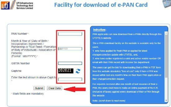 Submit Your Details for e Pan Card