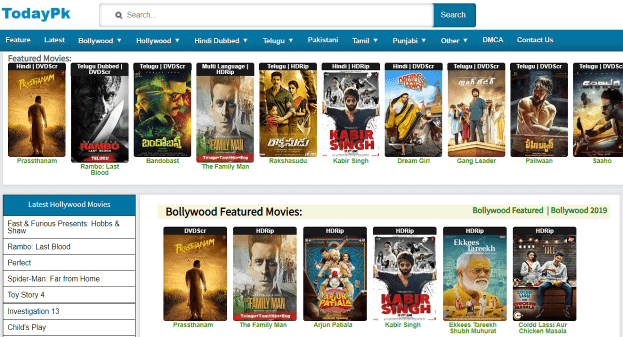 Todaypk 2019 – Download & watch Tamil, New Telugu Movies