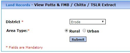 Tamil Nadu Land Record Online Form Process