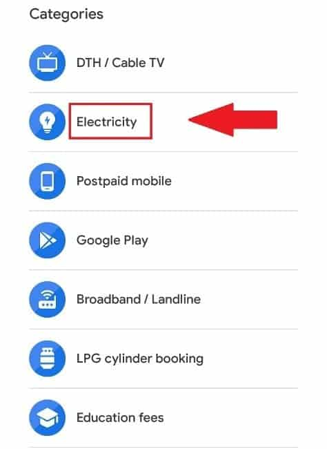Google Pay Electricity Section
