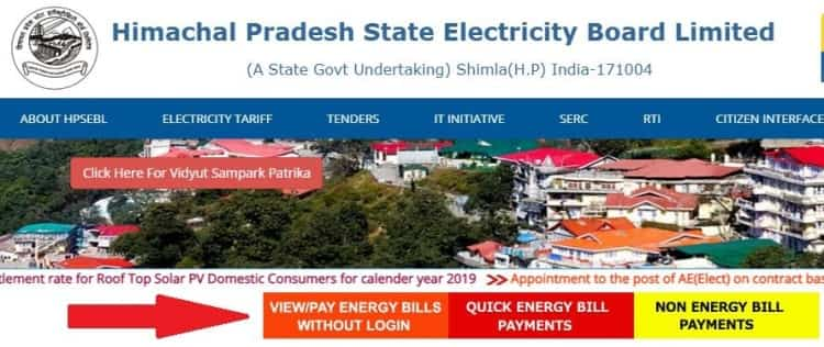 Himachal Pradesh State Electricity Board Ltd HP Bijli Bill Check Process