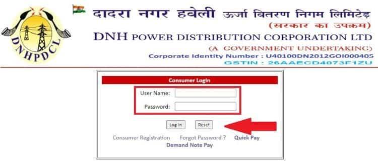 DNH Consumer Login Form