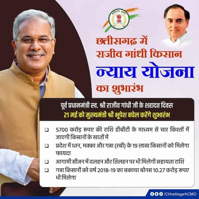 राजीव गांधी किसान न्याय योजना: ऑनलाइन आवेदन, CG Nyay Yojana रजिस्ट्रेशन