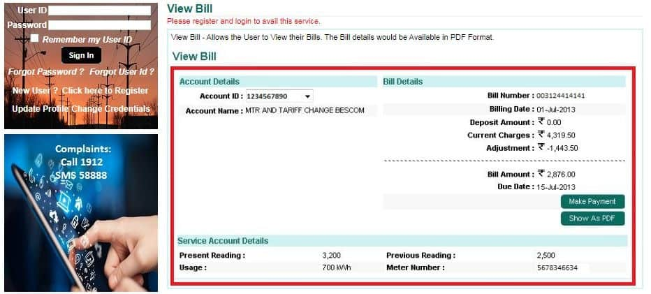 Get Your Karnataka Bijli Bill in pdf Format