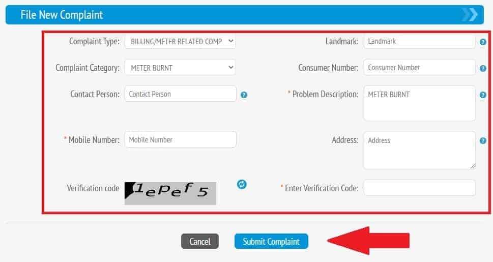 Online Complaint Registration Form